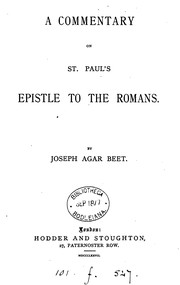 A commentary on st. Pauls Epistle to the Romans