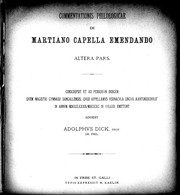 Commentationes philologicae de Martiano Capella emendando
