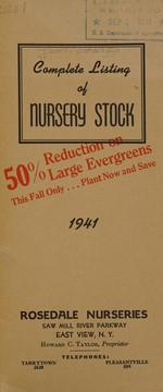 Complete listing of nursery stock, 1941