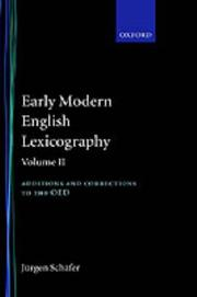 Early modern English lexicography by Jürgen Schäfer