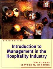 Introduction to management in the hospitality industry by Thomas F. Powers