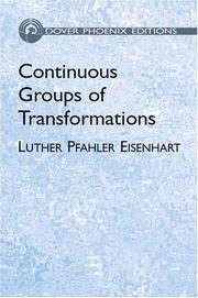 Continuous groups of transformations by Eisenhart, Luther Pfahler