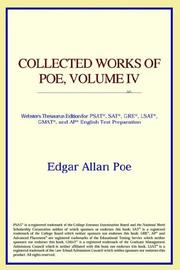 Cover of: Collected Works of Poe, Volume IV (Webster&#39;s Thesaurus Edition) by ICON Reference