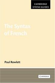 The Syntax of French (Cambridge Syntax Guides) PDF