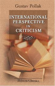 International perspective in criticism by Gustav Pollak