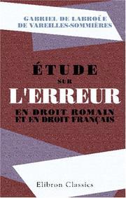 Étude sur lerreur en droit romain et en droit français