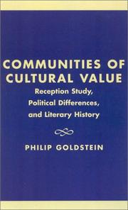Communities of Cultural Value by Philip Goldstein