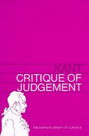 Cover of: Critique of Judgement (Hafner Library of Classics) by Immanuel Kant