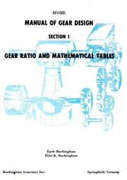 Manual of gear design by Earle Buckingham