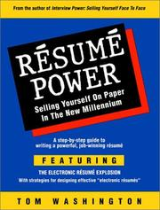 Resume Power by Tom Washington
