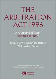 The Arbitration Act 1996 by Bruce Harris, Rowan Planterose, Jonathan Tecks