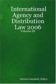 International Agency and Distribution Law - Volume III PDF