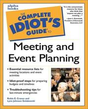 The complete idiot's guide to meeting and event planning PDF
