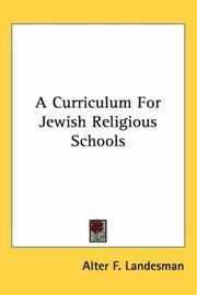 A Curriculum for Jewish Religious Schools