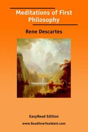 Cover of: Meditations of First Philosophy [EasyRead Edition] by René Descartes