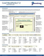 Corel WordPerfect 12 Quick Start Card PDF