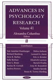 Advances in Psychology Research by Alexandra Columbus
