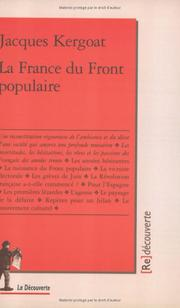 La France du Front populaire by Jacques Kergoat