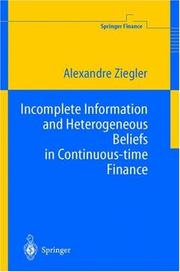 Incomplete Information and Heterogeneous Beliefs in Continuous-time Finance PDF