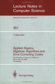 Applied Algebra, Algebraic Algorithms and Error-Correcting Codes PDF