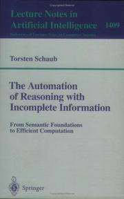 The Automation of Reasoning With Incomplete Information PDF