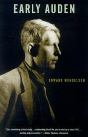 Early Auden by Edward Mendelson