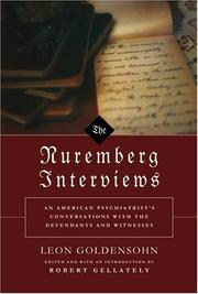 Cover of: The Nuremberg Interviews by Leon Goldensohn