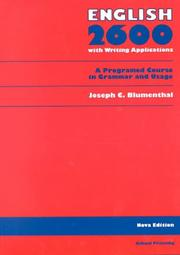 English 2600 by Joseph C. Blumenthal