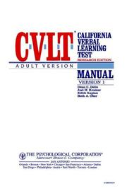 Cvlt Research Edition Adult Version Manual PDF
