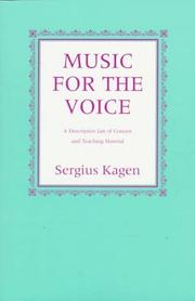Music for the voice by Sergius Kagen