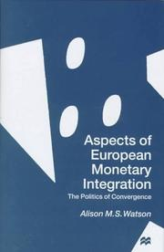 Aspects of European monetary integration PDF