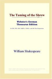 Cover of: The Taming of the Shrew (Webster&#39;s German Thesaurus Edition) by William Shakespeare