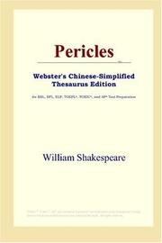Cover of: Pericles (Webster&#39;s Chinese-Simplified Thesaurus Edition) by William Shakespeare