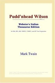 Cover of: Pudd'nhead Wilson (Webster's Italian Thesaurus Edition) by Mark Twain