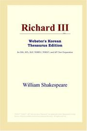 Cover of: Richard III (Webster's Korean Thesaurus Edition) by William Shakespeare