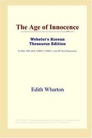 Cover of: The Age of Innocence (Webster's Korean Thesaurus Edition) by Edith Wharton