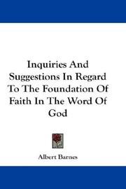 Inquiries And Suggestions In Regard To The Foundation Of Faith In The Word Of God PDF
