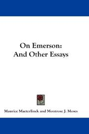 On Emerson by Maurice Maeterlinck