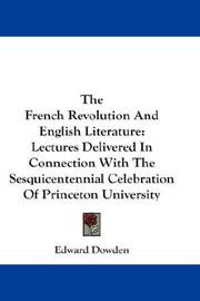 The French Revolution and English literature by Dowden, Edward