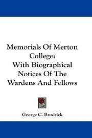 Memorials Of Merton College PDF