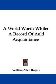A World Worth While PDF