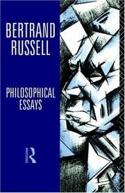 Cover of: Philosophical essays by Bertrand Russell
