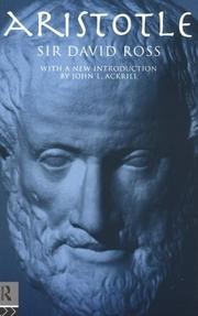 Cover of: Aristotle by W. D. Ross