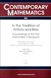 In the tradition of Ahlfors and Bers by Ahlfors-Bers Colloquium (1st 1998 State University of New York at Stony Brook)