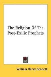 The Religion Of The Post-Exilic Prophets PDF