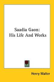 Saadia Gaon by Henry Malter