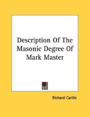 Description Of The Masonic Degree Of Mark Master PDF