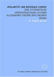Apolarität und rationale Curven by W. Franz Meyer