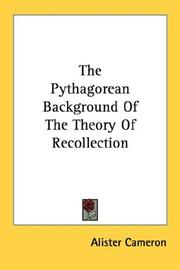 The Pythagorean background of the theory of recollection by Alister Cameron