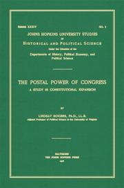 The postal power of Congress by Lindsay Rogers